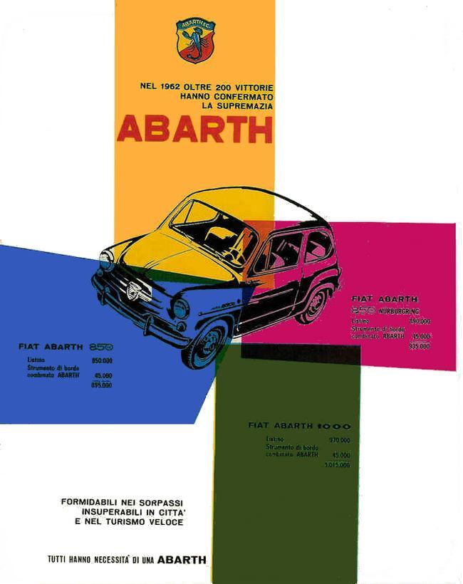 Plaques Abarth Signe En Aluminium Coulé Publicité Vintage Vitesse Fiat 500 Simca Lancia